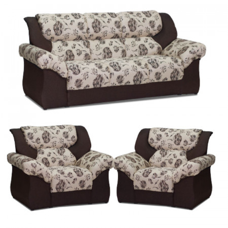 NOBILE SOFA PANAMA MARRON ESTAMPADO 3+1+1